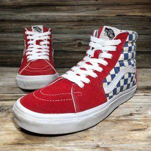 Vans Red Hightop Blue Checkerboard Sneakers Unisex
